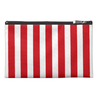 Valentines Stripes in Lipstick Red and White Travel Accessory Bag