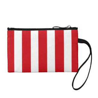 Valentines Stripes in Lipstick Red and White Change Purse