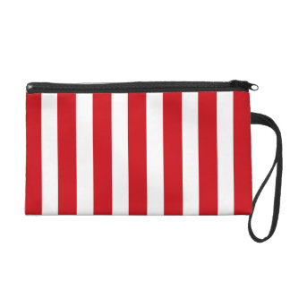 Valentines Stripes in Lipstick Red and White Wristlets