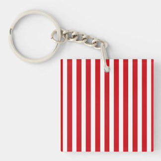 Valentines Stripes in Lipstick Red and White Acrylic Key Chain