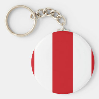 Valentines Stripes in Lipstick Red and White Keychain