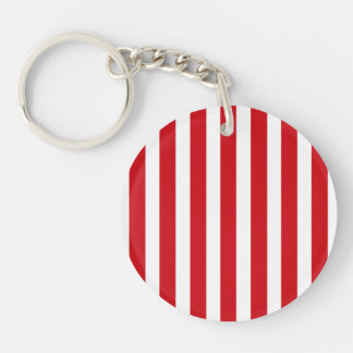 Valentines Stripes in Lipstick Red and White Key Chains