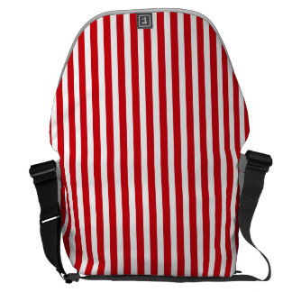 Valentines Stripes in Lipstick Red and White Courier Bags