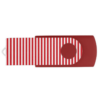 Valentines Stripes in Lipstick Red and White Swivel USB 2.0 Flash Drive