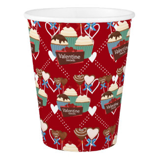 Valentines sweets and white hearts pattern paper cup