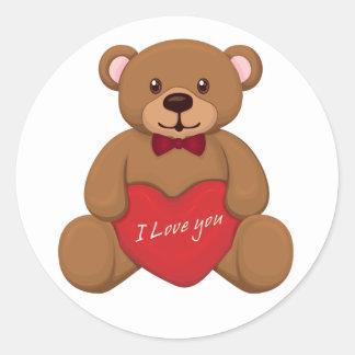 Valentines' Teddy Bear Classic Round Sticker