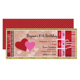 Valentine's Valentine Party Admit One VIP Ticket Card