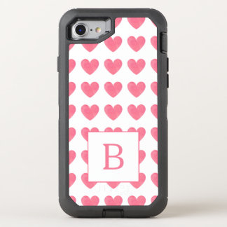 Valentines Watercolor Pink Heart Pattern Monogram OtterBox Defender iPhone 8/7 Case