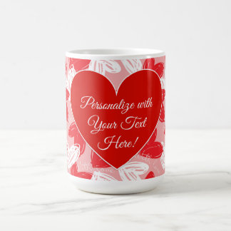 "Valentine's ""With Love"" Hearts - Personalise Coffee Mug"
