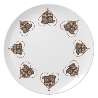 Valentines Yorkshire terriers dinner plate