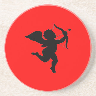 Valentines's Day Gift Cupid Silhoutte Drink Coaster