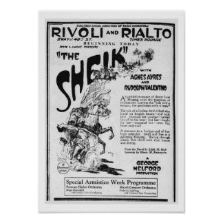 Valentino The Sheik 1921 vintage newspaper ad Poster