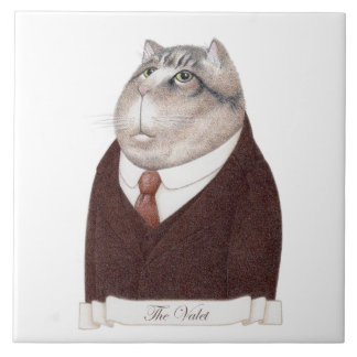 "Valet Cat Large (6"" x 6"") Ceramic Tile"