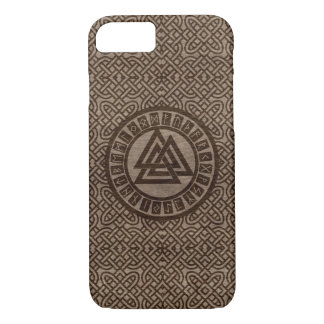 Valknut Symbol and Runes on Celtic Pattern on Wood iPhone 8/7 Case