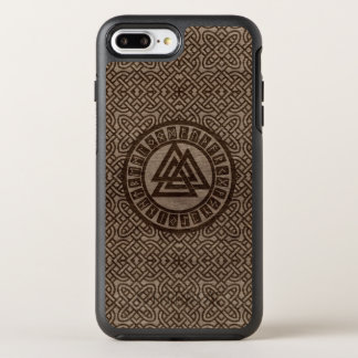 Valknut Symbol and Runes on Celtic Pattern on Wood OtterBox Symmetry iPhone 8 Plus/7 Plus Case