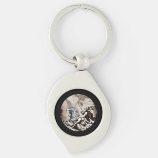 Valkyrie Carries Hero to Valhalla Silver-Colored Swirl Key Ring