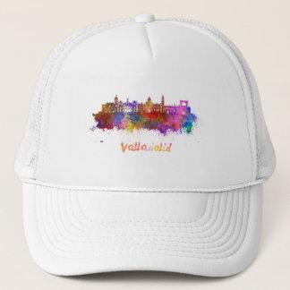 Valladolid skyline in watercolor trucker hat