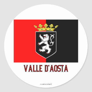 Valle d'Aosta flag with name Classic Round Sticker