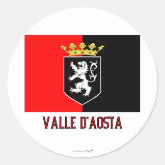 Valle d'Aosta flag with name Round Sticker
