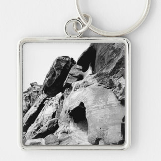 Valley Cliff Photograph Silver-Colored Square Key Ring