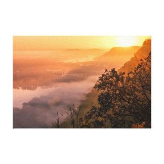 "Valley Fog Sunrise 18x12  .75"" Canvas Print"