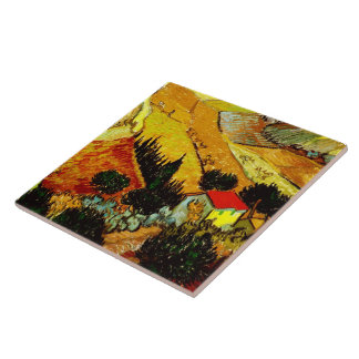 Valley with Ploughman Van Gogh Fine Art Large Square Tile