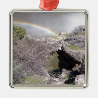 Valley with Rainbow Silver-Colored Square Decoration