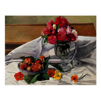 Vallotton - Flowers and Strawberries Postcard