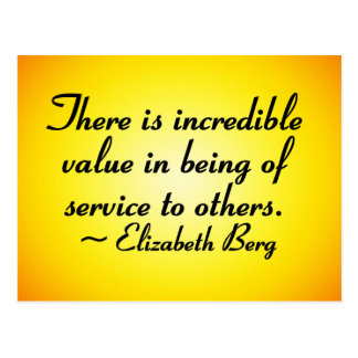 Value of serving others postcard