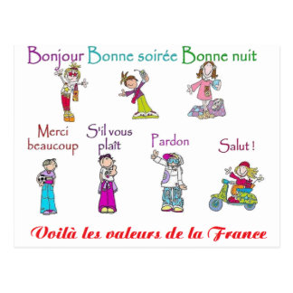 VALUES Of FRANCE.png Postcard