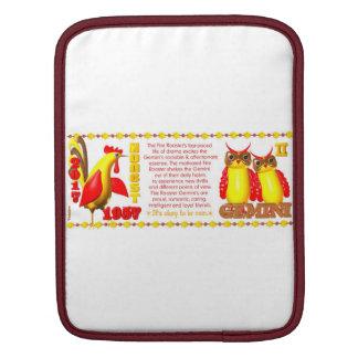 Valxart 1957 2017 2077 FireRooster zodiac Gemini Sleeve For iPads