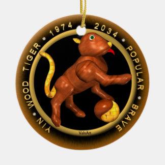 Valxart 1974 2034 Wood Tiger astrology  Virgo Round Ceramic Decoration