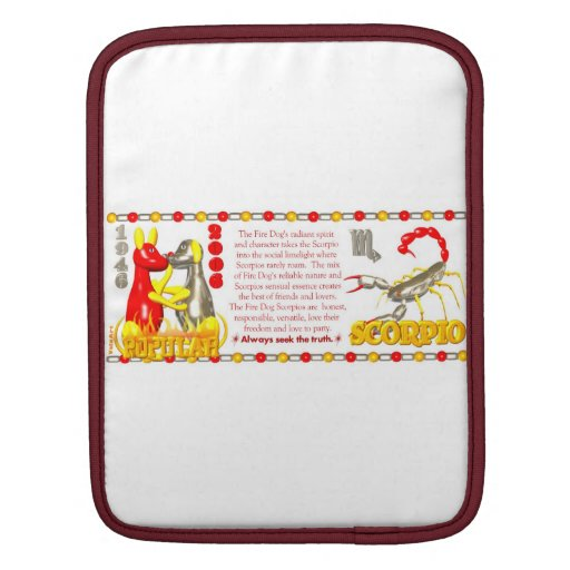 Valxart 2006 1946 2066 zodiac FireDog Scorpio Sleeves For iPads