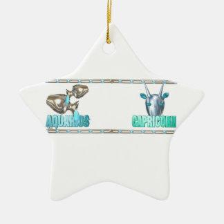 Valxart Aquarius Capricorn zodiac friendship Christmas Ornaments