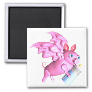 ValxArt flying pink pig with baby bottle Fridge Magnets