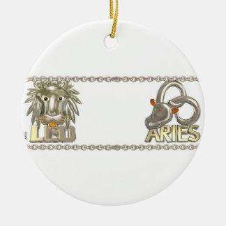 Valxart Leo Aries zodiac astrology friendship Round Ceramic Decoration