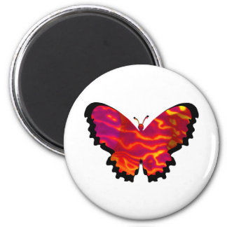 Valxart red orange abstract butterfly 6 cm round magnet