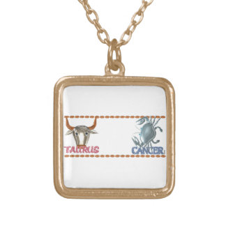 Valxart Taurus Cancer zodiac astrology friendship Gold Plated Necklace