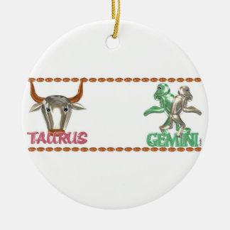 Valxart Taurus Gemini zodiac astrology friendship Round Ceramic Decoration