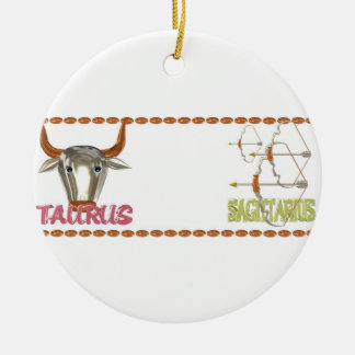 Valxart Taurus Sagittarius astrology friendship Round Ceramic Decoration