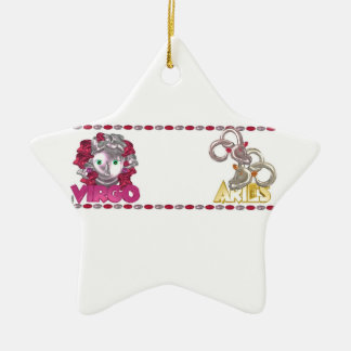 Valxart Virgo Aries zodiac astrology friendship Christmas Tree Ornament