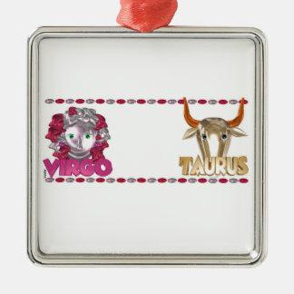 Valxart Virgo Taurus zodiac astrology friendship Silver-Colored Square Decoration