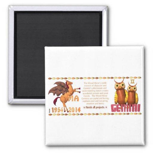 ValxArt Zodiac Gemini Yin Wood Horse 1954 2014 Fridge Magnets