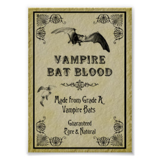 Vampire Bat Blood Halloween Print
