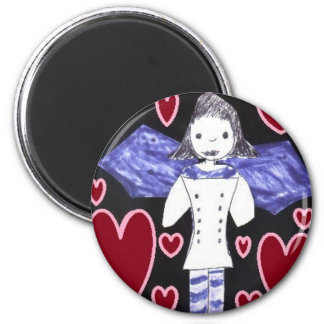 Vampire Bat Girl in Red and Blue 6 Cm Round Magnet