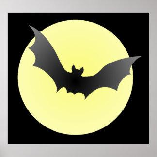 Vampire Bat & Moon Halloween Poster