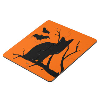Vampire Bats Black Cat Silhouette Halloween Spooky Puzzle Coaster