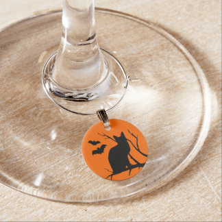 Vampire Bats Black Cat Spooky Halloween Party Wine Glass Charm