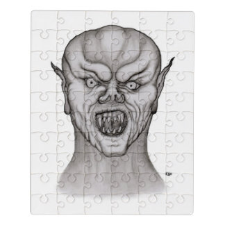 Vampire , Black and White Design Jigsaw Puzzle