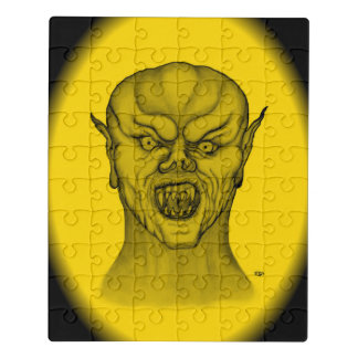 Vampire , Black and Yellow Design Jigsaw Puzzle